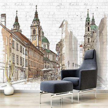 Hand painted european city 3d wall paper decorative painting wallpaper for walls home improvement Non wovens wallpapers