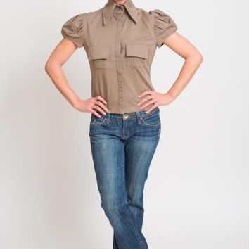 1990's Brown Blouse - Vintage 1970's Fitted Military Pleated Button Up Disco Top Short Preppy Pin Up Tee Puff Sleeve Shirt Size M