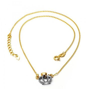 Gold Layered 04.09.0044.18 Fancy Necklace, Crown Design, Matte Finish, Two Tone