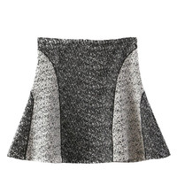 Black and White Knitted High Waisted Skirt