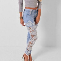 Waist Jegging Jeans for Women with Lace Skinny Jeans Woman HighPatchwork Lady Slim Ripped Boyfriend Jeans Plus Size Denim Pants