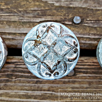 Shabby Chic Beach Decor Beach House Home Decor Furniture Pulls Rustic Blue & White Metal Knobs Dresser Hardware Distressed Cabinet Knobs