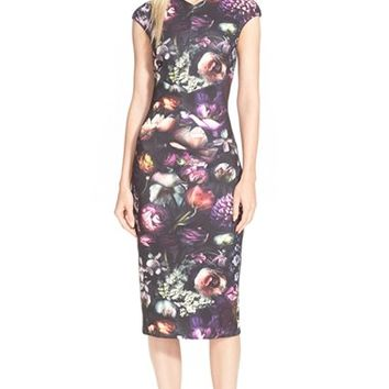 Women's Ted Baker London 'Raisie' Floral Print Body-Con Dress,