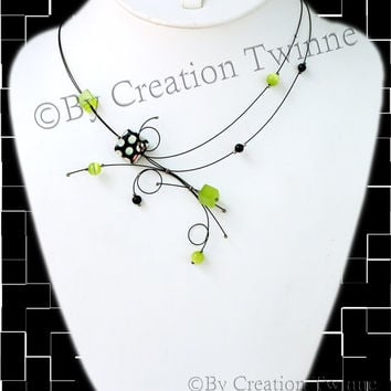 lime green necklace,unique handmade, swirls necklace,polka dot design,funky necklace,bridesmaids gift, mothers days gifts, delicate jewelry,