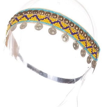 Boho Headband Head Piece Beaded Head Band Coin Headpiece - By PiYOYO 45345X2