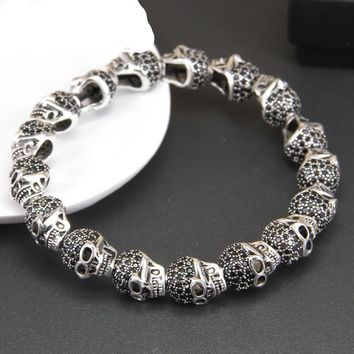 Skull with Black CZ Beads Bracelet Sterling Silver