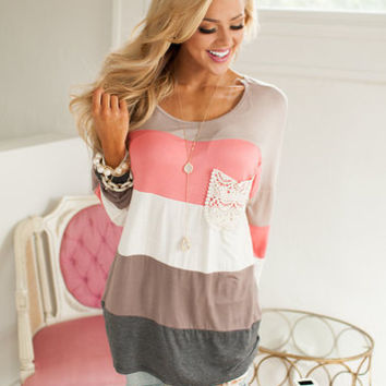 Laced and Color Block Tunic Peach