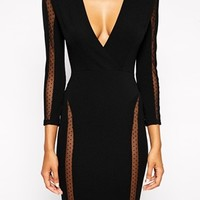 TFNC Bodycon Dress With Spot Mesh Inserts