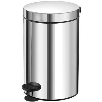 SCBA Round Stainless Steel Step Wastebasket Trash Can for Bathroom, 12lt