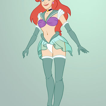 Sailor Disney Princess Ariel Art Print by Nautilus Gifticus