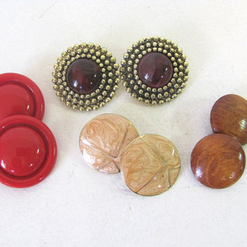 vintage costume jewelry lot of 1980s clip on earrings // 4 pairs