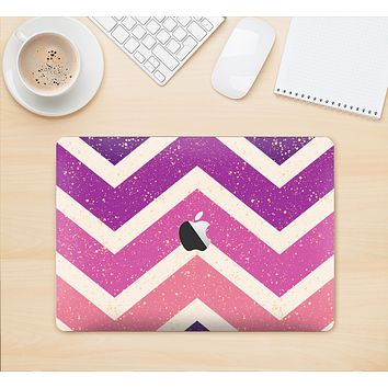 "The Purple Scratched Texture Chevron Zigzag Pattern Skin Kit for the 12"" Apple MacBook"