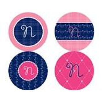 Quilted Monogram Personalized Stickers