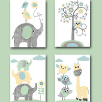 Kids Gift Kids Art Kids Wall Art Baby Boy Nursery Elephants Giraffe Owls Nursery Art Print Baby Room Decor set of 4 8x10 Gray Blue Yellow