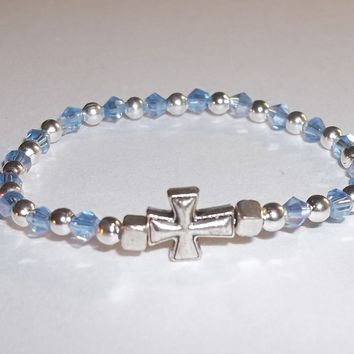 Cross Pale Blue Swarovski Crystal Children's Baby Infant Keepsake Hand Crafted Stretch Bracelet (fits 6mo-12mo)