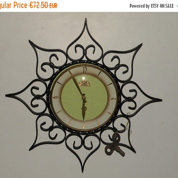 SALE-15% OFF 1970s FFR mechanical Morbier wall clock, french wall clock, french home décor, mechanical clock, industrial clock, sunburst clo