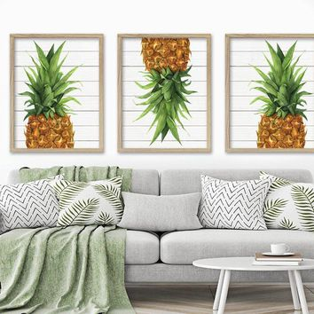 WATERCOLOR PINEAPPLE Wall Art, Tropical PINEAPPLE Canvas or Prints, Tropical Wood Effect Pineapple Wall Decor, Coastal Living Room Set of 3