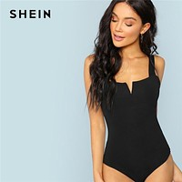 SHEIN Black V-Cut Front Bodysuit Sexy Straps Plain Skinny Sleeveless Bodysuits Women Autumn Stretchy Minimalist Bodysuits