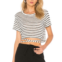 LNA Wrapped Up Tee in Black & White Stripe