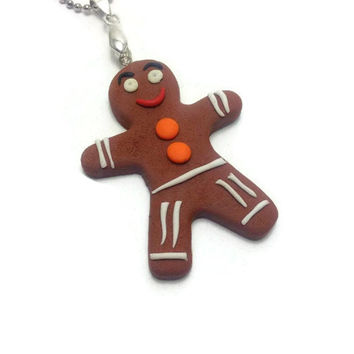 Gingerbread Man Pendant, Christmas Jewelry, Mini Food Jewelry, Polymer Clay Pendant, Merry Christmas, Kawaii Jewelry