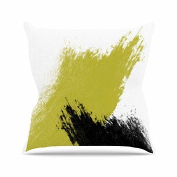 Mustard and Black Strokes - Black Yellow Abstract Painting Throw Pillow