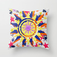 Colorful Quilted sun pattern Abstract Throw Pillow by Sheila Wenzel