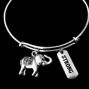 Elephant Jewelry Inspirational Strong Strength Expandable Charm Bracelet Silver Adjustable Bangle One Size Fits All Gift