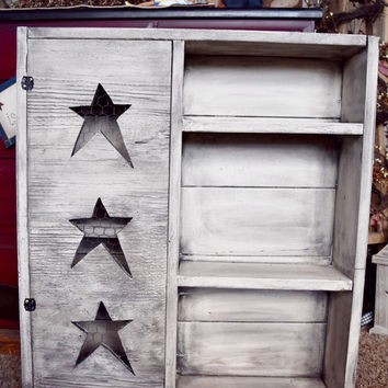 Primitive, Distressed Shelf with Folk Art Stars