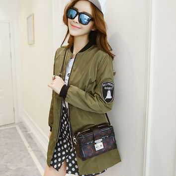 autumn spring women army green military bomber jackets solid bf long jackets loose duster coat zipper biker outwear