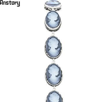 Oval Lady Queen Cameo Strand Bracelets For Women Vintage Look Antique Silver Plated Fashion Jewelry TB307