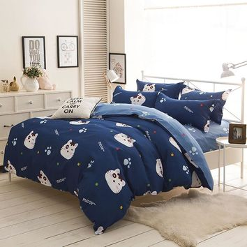 Cute Cats Bedding Set Cartoon Style Kids students Home Textile  blue Duvet Cover sets bedsheet pillowcase twin full Queen Size