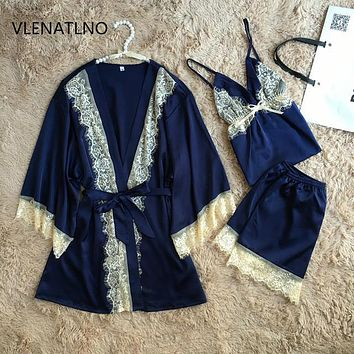 sexy women's lace satin pajamas sets with bathrobes free shipping 2017 three pieces female nightwear set high grade temptation