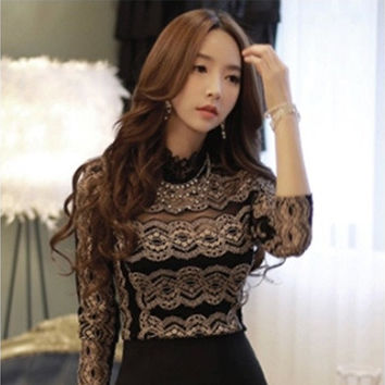 Women Lace 3/4 Sleeve Club T-Shirt Blouse Tops Tee [8833608204]