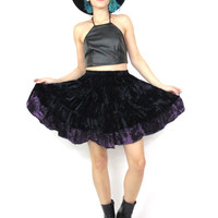 90s Goth Velvet Full Skater Skirt Striped Full Purple Navy Gypsy Mini Skirt (XS/S)