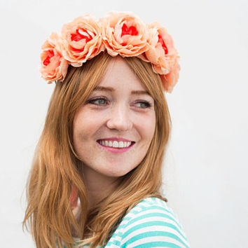 Shop Coral Flower Crown on Wanelo c68fcd0ca2f