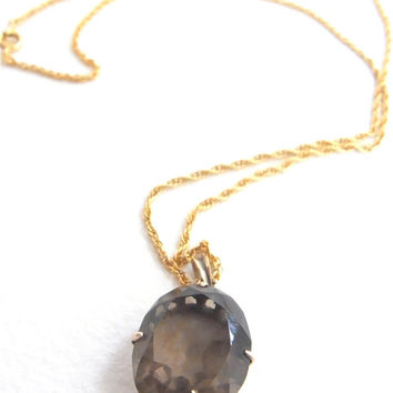 necklace smoky topaz 14K gold setting vintage antique jewelry gemstone