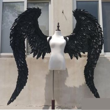 Black Angel Wings Devil Wings Large Feathers Model Shows Cosplay Photography