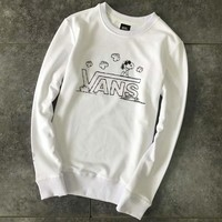 Vans : Cute Snoopy cartoon print couple pullover hoody sweater H-YF-MLBKS
