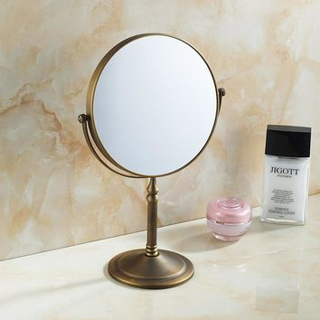 Bathroom Magnifying Makeup Mirror, Double-Sided 1X/3X, Extendable Folding Arm, Wall Mounted Vanity Round Mirrors, Antique Brass