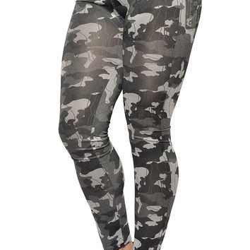 BadAssLeggings Women's Camo Leggings Medium Black