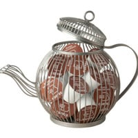 Wire Teapot K Cup Pod Holder Kitchen Storage Organizer Home Decor Silver Finish