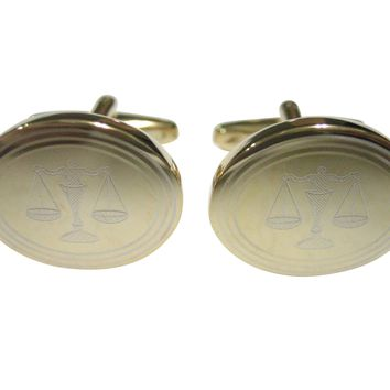 Gold Toned Etched Oval Scale of Justice Law Cufflinks