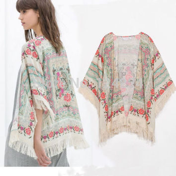 NEW! Fringe Floral SHAWL KIMONO JACKET Tops Cardigan Loose Tassels Shirt Blouse