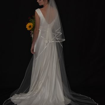 "Two-Tier 30""/90"" Chapel Veil with 1/4"" Folded Satin Ribbon Edge"