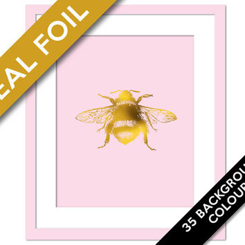 Bumblebee Art Print - Gold Foil Print - Insect Poster - Nursery Art - Gold Bee Art Print - Nature Art - Bumble Bee Wall Art - Gold Foil Bee