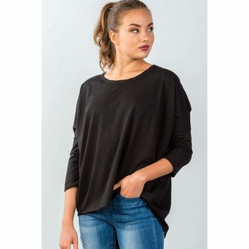 Ladies Black Button Up Back Sweater