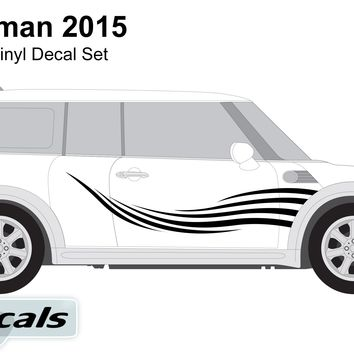 Mini Countryman 2015 Waves Side Graphics Vinyl Decal Set