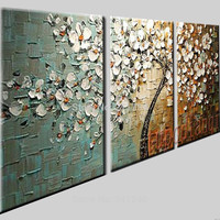 Hand-painted modern home decor wall art picture white flower palette thick Knife oil painting  on canvas for  living room