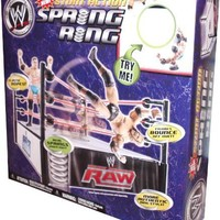 World Wrestling Entertainment WWE Stunt Action Spring Ring with Elastic Ropes and Real Springs Under Mat (Figure Sold Separately)