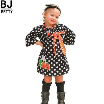new arrival baby girls Halloween dress children girls polka dot dress with pumpkin dress baby girls boutique Fall/Autumn BBD071